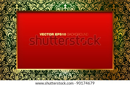Celebration background: Red background with space for your content and golden detailed frame. - stock vector