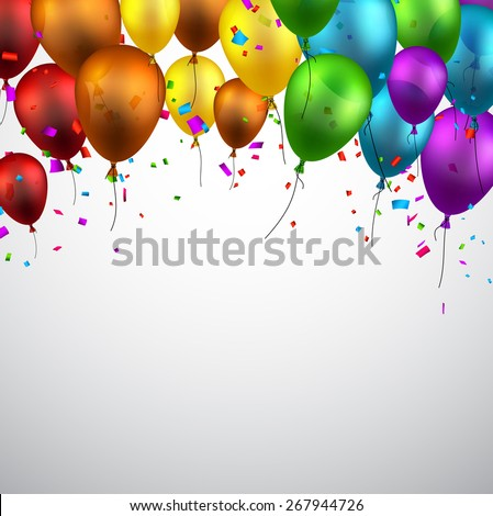 Celebration background with colorful balloons and confetti. Vector illustration.  - stock vector