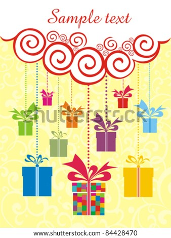 Celebration background with gift boxes and place for your text. vector illustration - stock vector