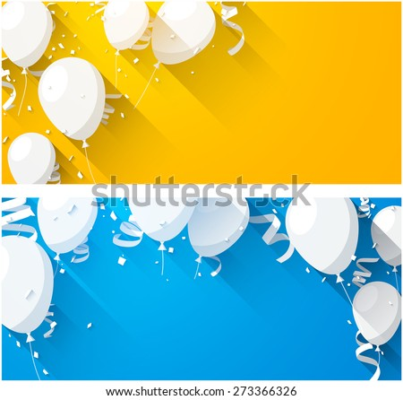 Celebration backgrounds with flat balloons and confetti. Vector illustration. 