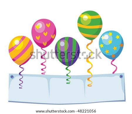 Celebration banner with balloons. - stock vector