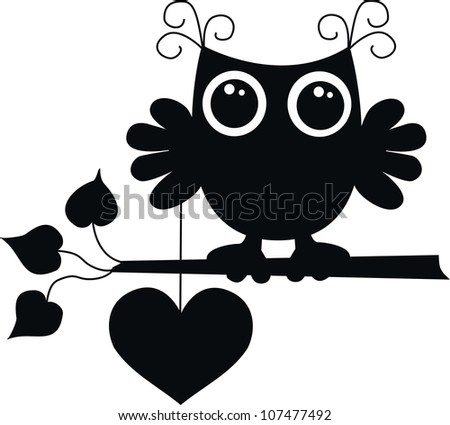 celebration black owl with a big heart - stock vector
