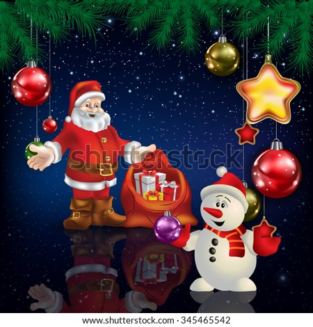 Celebration blue greeting with Santa Claus and snowman - stock vector