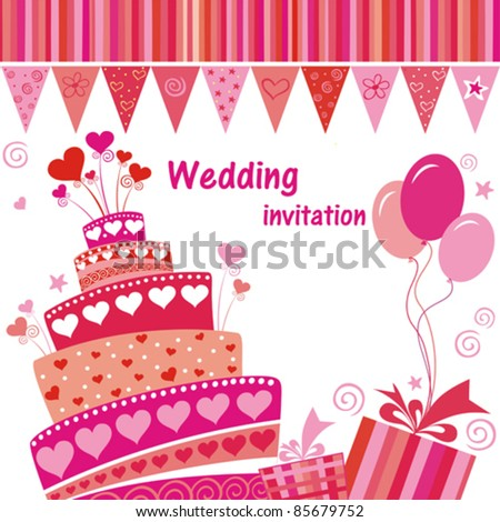 Celebration card. Wedding cake with space for text. vector illustration - stock vector