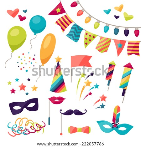 Celebration carnival set of icons and objects. - stock vector
