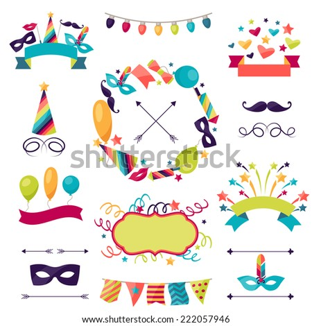 Celebration carnival set of icons, decorations and objects. - stock vector