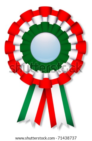Celebration cockade with italian flag's colors, vector illustration - stock vector