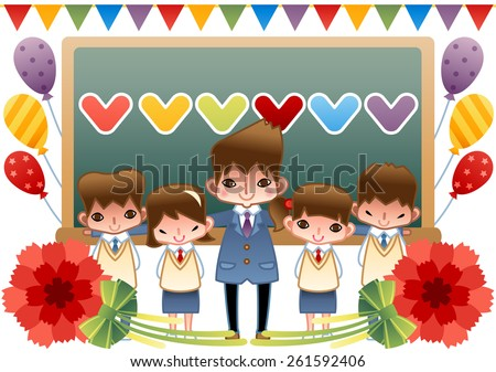 Celebration Day with Happy People - a male teacher take a picture with lovely girls and cute boys in the classroom on white background with beautiful banners and helium balloons : vector illustration - stock vector