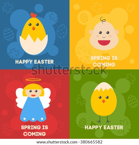 Celebration easter Icons. Flat styled objects set. Stickers, labels, postcard. Rabbit, birds, eggs, flowers and other symbols of spring. Vector illustration