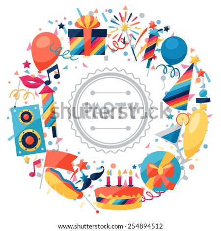 Celebration festive background with party icons and objects. - stock vector