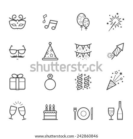 Celebration Icons and Party Icons - stock vector
