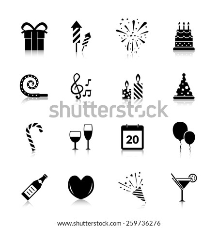 Celebration icons black set with gift box fireworks cake isolated vector illustration - stock vector