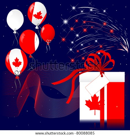 Celebration of Canada Day with fireworks. 10EPS Vector. - stock vector
