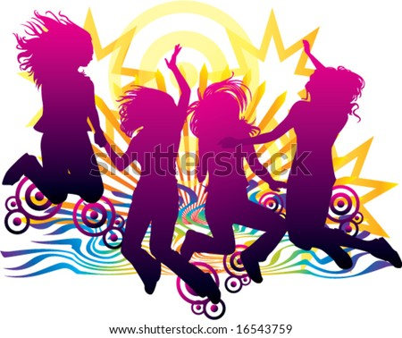 celebration of friends forever sunset beach abstract rays targets stars vector illustration