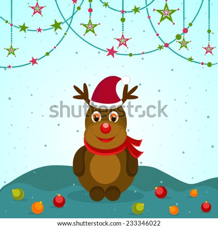 Celebration of Merry Christmas with cute monster in Santa hat and X-mas balls on stars decorated blue background. - stock vector
