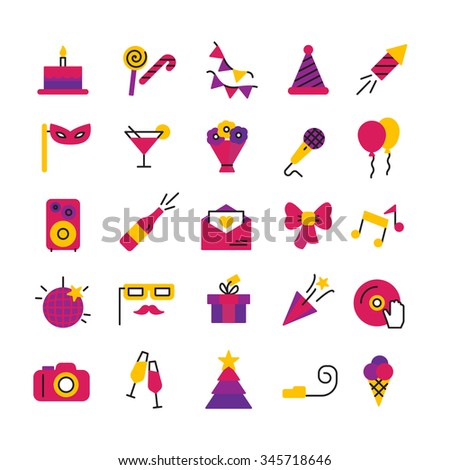 Celebration party and birthday icons set with masks petard champagne and balloons isolated vector illustration - stock vector