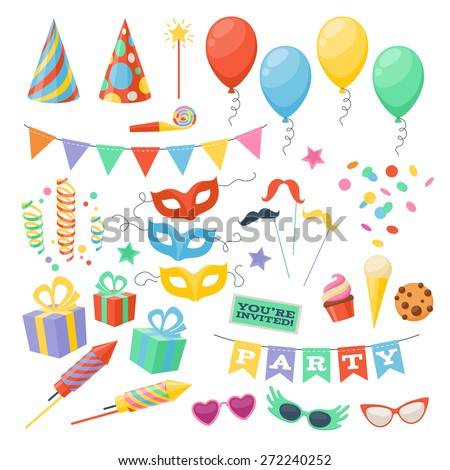 Celebration party carnival festive icons set. Colorful symbols - hat, mask, gifts, balloon. - stock vector
