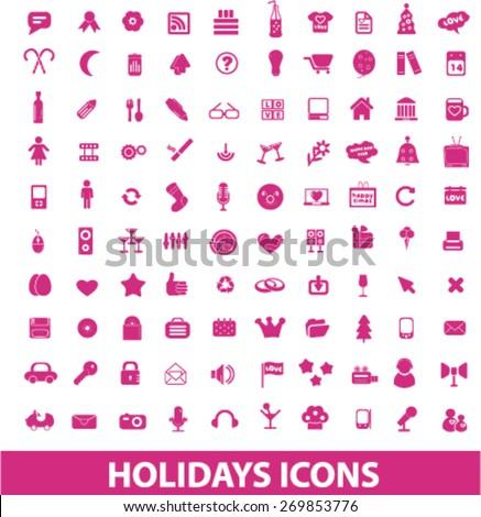 celebration, party, dj, birthday, holidays icons set, vector - stock vector