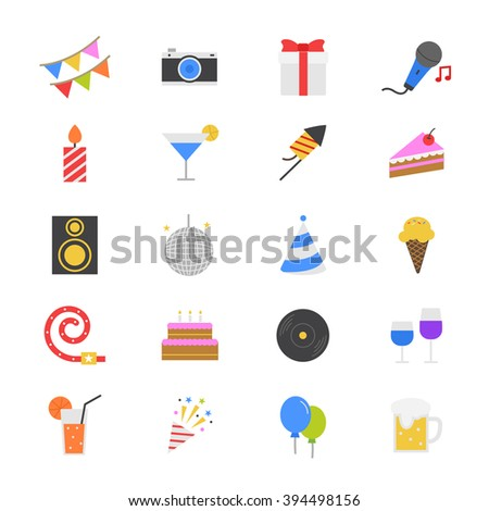 Celebration Party Flat Color Icons - stock vector