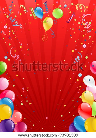 Celebration red background with balloons with space for text - stock vector