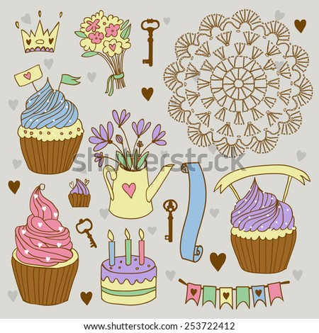celebration set with cake and cupcakes, flower and other things