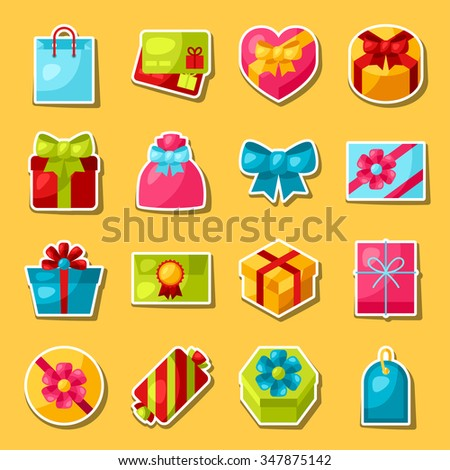 Celebration sticker set of colorful gift boxes.