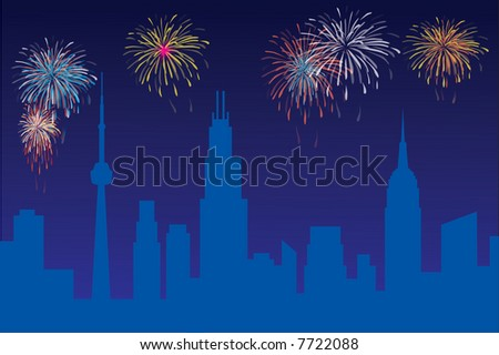 Celebration with firework - stock vector