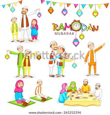 Celebrations for Islamic holy month of prayers, Ramadan Mubarak with Religious Muslim people in various activities to follow the rituals.  - stock vector