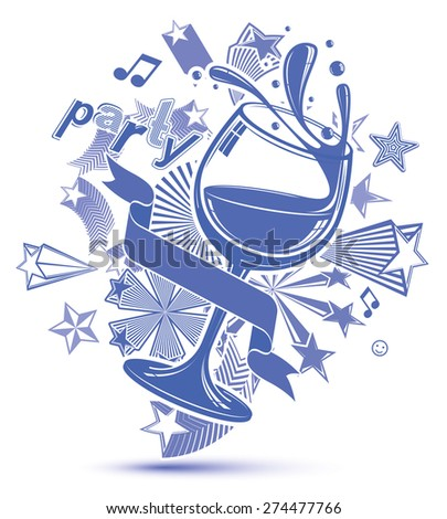 Celebrative grayscale backdrop with musical notes, glass goblet with wine and decorative stars. Graphic monochrome festive splash poster with design elements easy to use separately. - stock vector