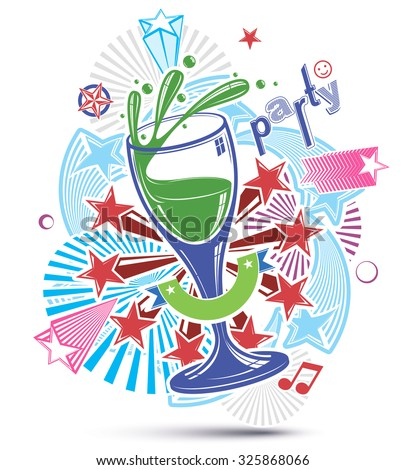 Celebrative leisure backdrop with musical notes, glass goblet and decorative stars. Graphic festive splash poster with design elements easy to use separately. - stock vector