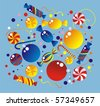 Celebratory allsorts: sweets, fur-tree spheres, crackers, confetti, streamer - stock vector