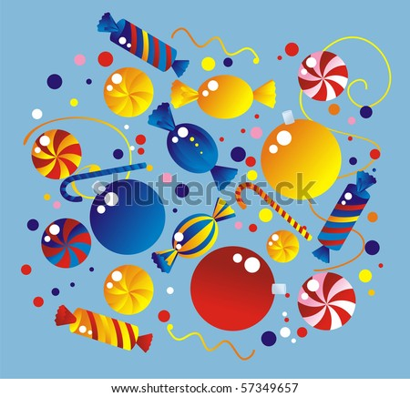 Celebratory allsorts: sweets, fur-tree spheres, crackers, confetti, streamer