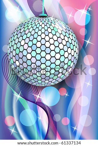 Celebratory background with diskoball and beams - stock vector