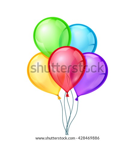 Celebratory balloons on isolated transparent background for festival decoration birthday. Vector illustration