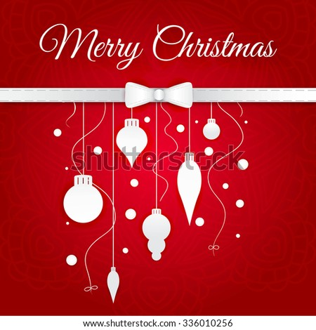 Celebratory bright background for Merry Christmas and New Year. Greeting card. White Christmas decorations, toys, snow falling on a red gradient background.  Congratulations on a Merry Christmas. - stock vector
