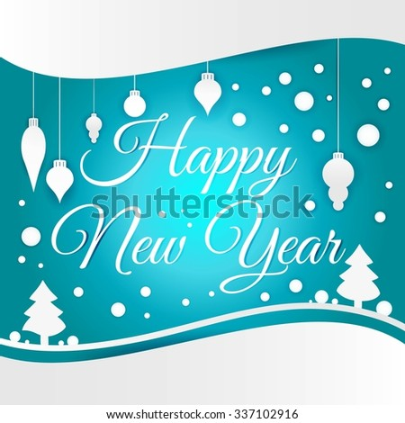Celebratory bright background for Merry Christmas and New Year. Greeting card. White Christmas decorations, toys, snow falling on a blue gradient background. Congratulations on a Happy New Year. - stock vector
