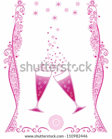 Celebratory champagne glasses.Editable and scalable abstract vector - stock vector