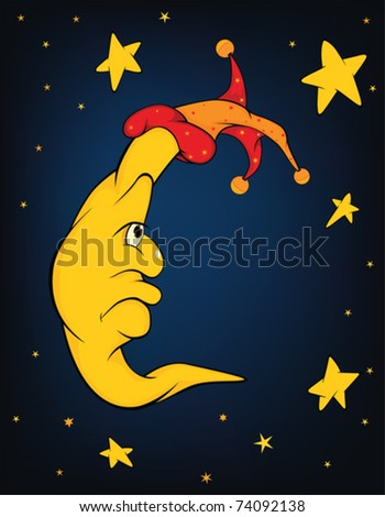 Celebratory fairy tale. The moon and stars. Cartoon - stock vector