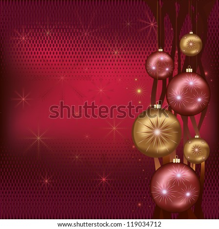 Celebratory New Year background red with christmas balls, snowflakes and ribbon. Vector illustration - stock vector