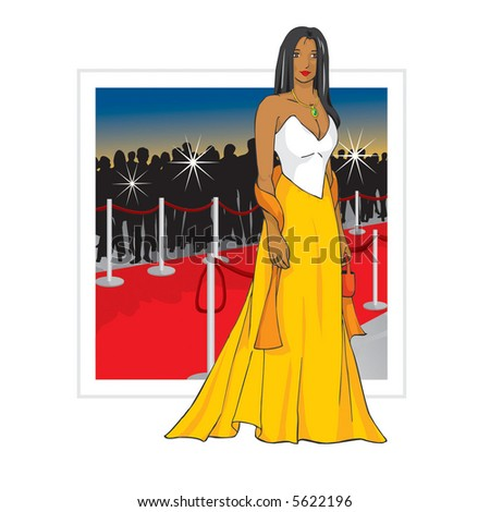 Celebrity on red carpet  (two layers - girl and background) - stock vector