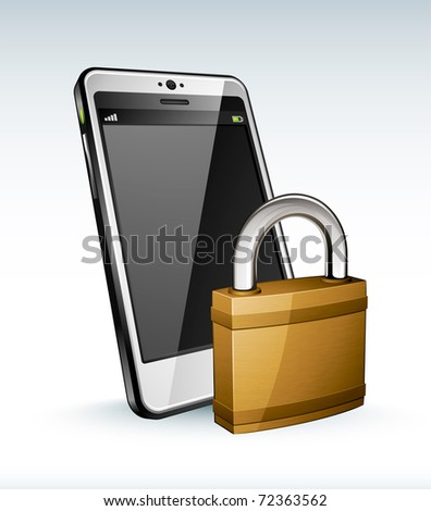 cell phone and padlock - stock vector