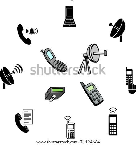 cell phone communications illustrations and symbols set - stock vector