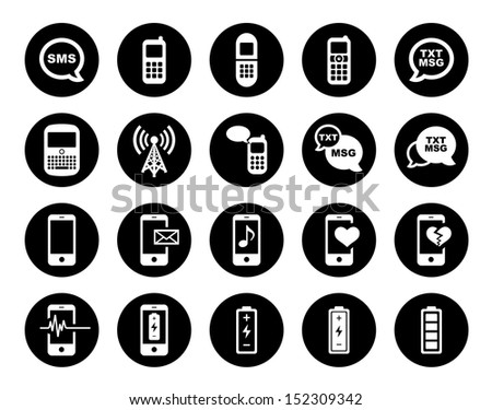 Cell Phone Icon Set - stock vector