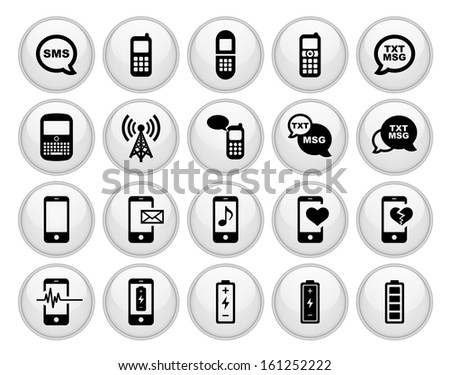 Cell Phone Icons Glossy White Button Icon Set - stock vector