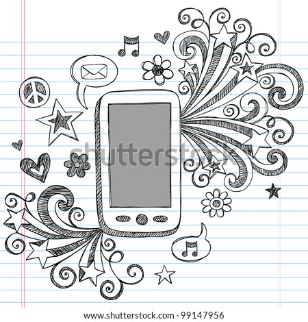 Cell Phone Mobile PDA Sketchy Hand-Drawn Notebook Doodles with Shooting Stars, Email Icon, Music, and Speech Bubbles- Vector Illustration Design Elements on Lined Sketchbook Paper Background - stock vector