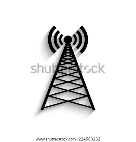 Cell Phone Tower  - black vector icon with shadow - stock vector