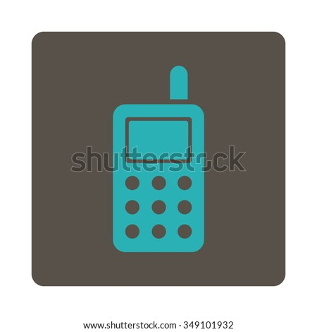 Cell Phone vector icon. Style is flat rounded square button, cyan and grey colors, white background.