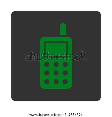 Cell Phone vector icon. Style is flat rounded square button, green and gray colors, white background.