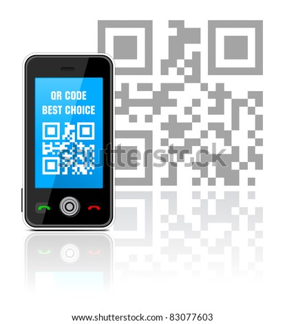 Cell phone with QR code - stock vector