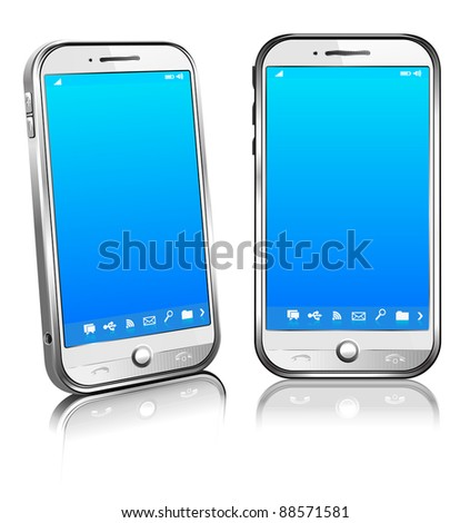 Cell Smart Mobile Phone White 3D and 2D - stock vector